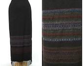 Vintage  Fringe Skirt, Brown Wool Skirt Long  Size 14 Large
