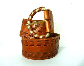 Vintage Belt Tan Brown Leather Woven Brass Buckle Belt Size 32