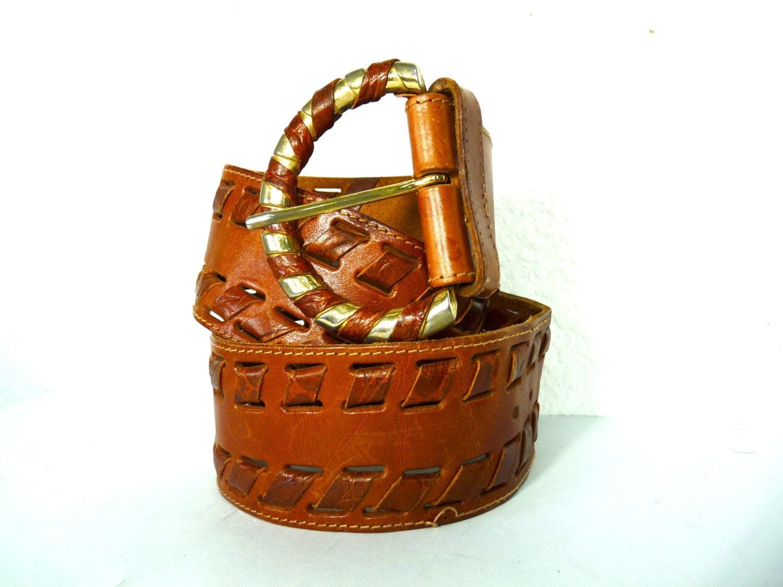 vintage belt brown leather woven brass by kmalinkavintage