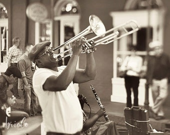 "New Orleans Jazz Musician Photograph ""Music from the Soul"" French Quarter Street Performer Picture,   Louisiana Print. Mardi Gras Wall Art."