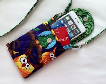 Iphone 6 Plus Smart Phone Gadget Case Detachable Neck Strap Quilted Fabric Owls