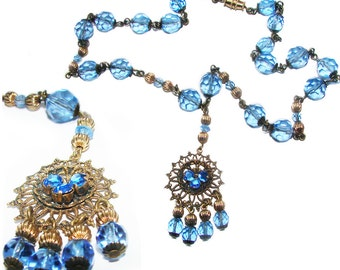 Free Shipping Art Deco Czechoslovakia Blue Sapphire Crystals Vintage Stunning Necklace