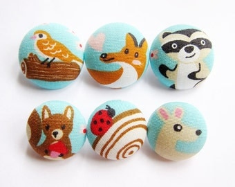 6 Fabric Buttons Set - Woodland Creatures