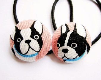 Button Ponytail Holders - Hello Pugs