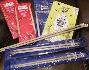 Knitting Needles Lot 1 - Straight & Circular Various Sizes (7 Total)