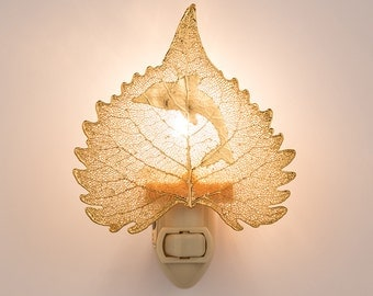Real Cottonwood Leaf Dipped In 24k Gold With Dolphin Silouhette Nightlight  - Iridescent Copper Leaves