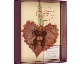 Real Cottonwood Leaf Dipped In Iridescent Copper With Sweet Kisses Silhouette Boxed - Real Dipped Leaves - Christmas Ornaments