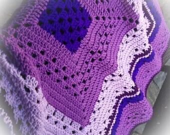 Granny Square Baby Blanket in Purples #168