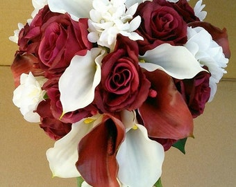 Burgundy Real Touch, Latex Calla lily Silk Burgundy Roses Flower Wedding Bridal Bouquet