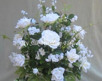 Wedding White Roses, Crystals accent, Stephanotis, Willows, Gypsos, Silk Flower Floral Arrangement / Centerpiece
