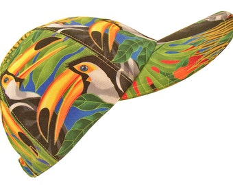 Toucans Too - OSFMost - Ladies Summer Baseball Cap Tropical Birds Bright Green Yellow Blue Black & White Nature Hat by Calico Caps