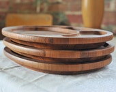 Digsmed Danish Teak Divided Plate, Teak Platter, Wooden Wood Teak Desk Organizer, Mid Century Teakwood Scandinavian Kitchen Platters