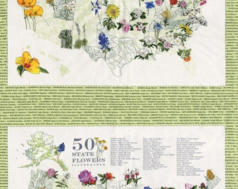 """Moda Fabric State Flowerscape State Panels on Green - sold by the 22.5"""" panel"""