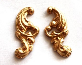 3 Vintage Brass Art Nouveau Rococo Stampings // 60s 70s NOS Jewelry Supply