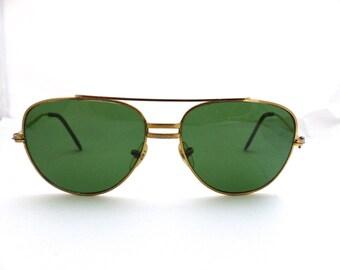 60s Aviator Pilots Sunglasses //Eyeglasses 1960s VIntage Frames  // Green Glass lens // Gold frame