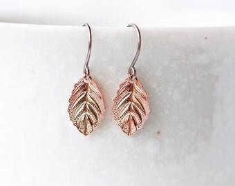 Rose Gold Leaves Earrings Modern Dainty Everyday Autumn Leaves Titanium Dangle