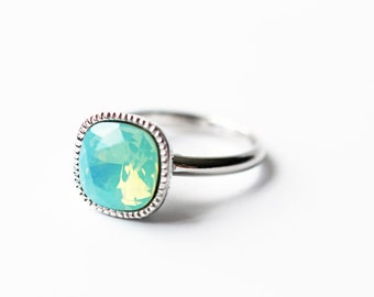 Sea Foam Green Opalescent Swarovski Crystal Silver Ring Pacific Opal Adjustable Free Size