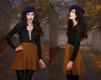 Striped Velvet Lace Up Mini Babydoll Dress XS S M L XL