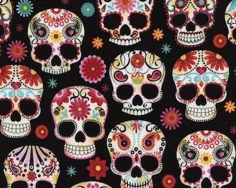 Sugar Skulls for Timeless Treasures, 1 yd.