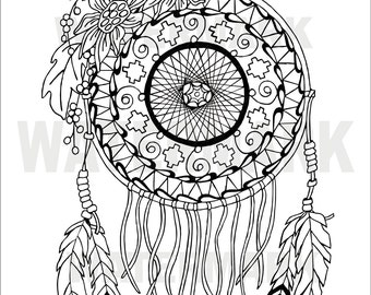 Sunflower Dream Catcher Adult coloring page