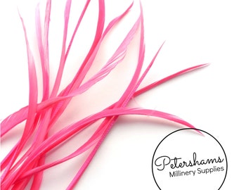 30 Loose Goose Biot Feathers for Millinery and Hat Trimming - Bright Pink
