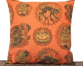 Orange Halloween Pillow Cover Cushion Black Cats Witches Pumpkins Haunted House Yellow Decorative Repurposed 18x18