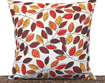 RESERVED FOR STACEY Autumn Leaves Pillow Cover Cushion Fall Modern Red Orange Brown Mustard Beige Repurposed Decorative Thanksgiving 18x18