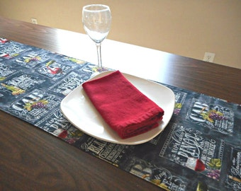 Wine Theme Table Runner Grapes Wine Bottles Glasses Chalkboard Black Red Green White Purple Reversible Hostess Gift