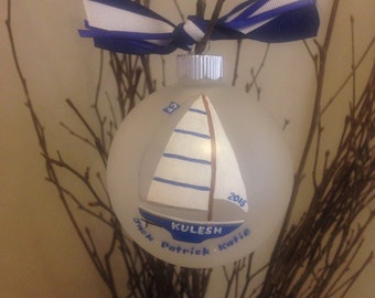 Personalized family sailboat ornament