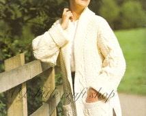 Ladies aran car coat knitting pattern. Instant PDF download!