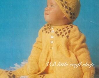 Baby's matching set knitting pattern. Instant PDF download!
