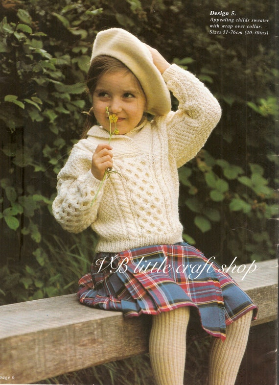Childs Aran Jumper Knitting Pattern : Childs aran sweater knitting pattern. Instant PDF