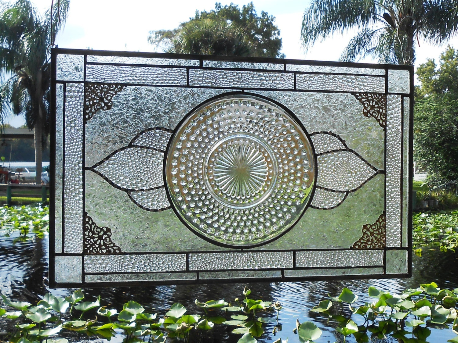 Stained glass panel with 1930s crystal hobnail by for 1930s stained glass window designs