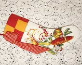 Stunning Indian Corn Wilendur Vintage Tablecloth Stocking with Antique Quilt Cuff and Gingham Bow