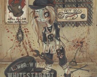 Zombie goth girl undead mechanic print -fantasy art lowbrow gothic -Asylum park the motor shop