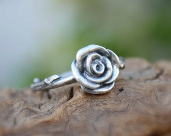 Rose twig ring,sterling silver flower ring,branch ring,floral twig ring.