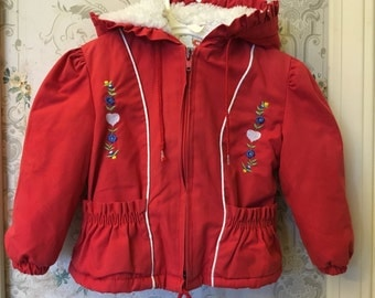 Girls red winter jacket 12-18m