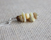 Mustard Yellow Stacked Stone Pendant | Stone Chips Pendant Necklace