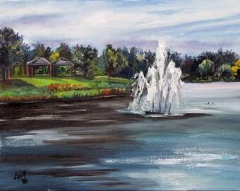 Original Plein Air Impressionist Foutain - 14x11in Landscape Painting