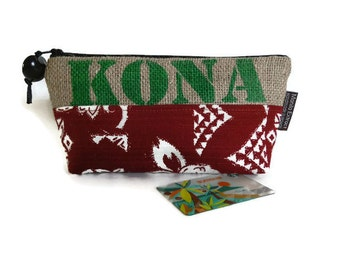Burlap and Tapa Kona Pouch. Hawaii, USA Coffee Bag. Handmade in Hawaii.