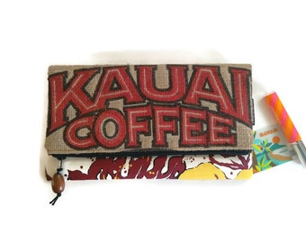 Foldover Zipper Clutch with Koa Wood Pull. Repurposed Kauai USA Coffee Bag. Handmade in Hawaii.