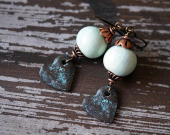 Boho Heart Earrings - Rustic Heart Earrings - Ceramic Earrings - Pale Turquoise - Bead Soup Jewelry