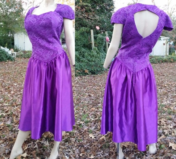 Plus Size 80s Prom Dress By Alfred Angelo In Purple/ Vintage