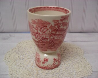 Vintage Pink Red Transferware Egg Cup Made in England Beautiful Pattern