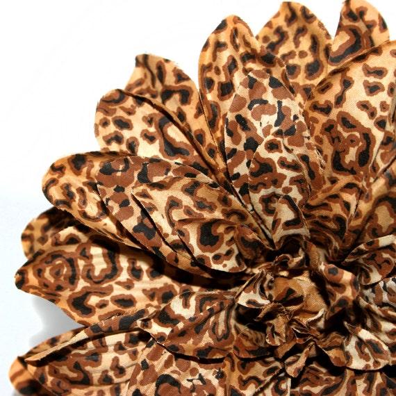 Jumbo Leopard Print Silk Dahlia Pick Artificial Flowers