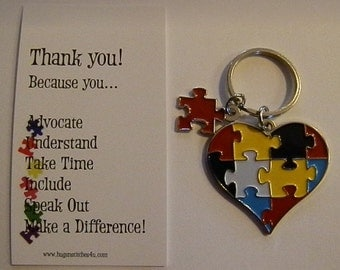 Autism Awareness Heart with Missing Piece Keychain