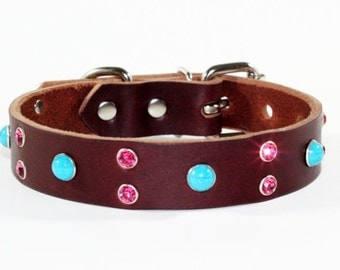"Pink Crystal Leather Dog Collar - Brown Leather Turquoise Dog Collar - 1"" Brown Leather Dog Collar - Turquoise Leather Dog Collar"