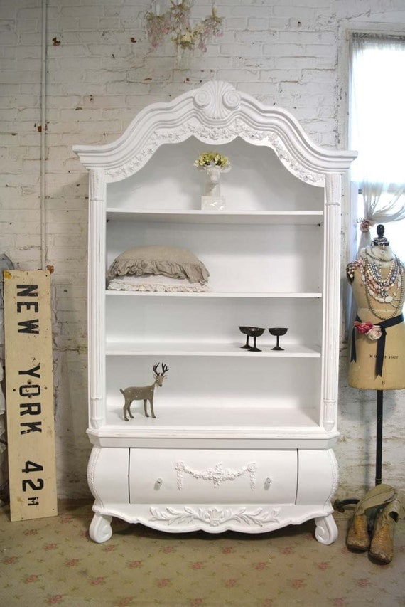 Painted cottage chic shabby white romantic bookcase bc32