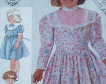 Child's Gunne Sax Dress Pattern, Size 5, Simplicity 7406, 1986
