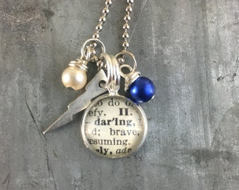 Mini Dictionary Word Necklace - DARLING